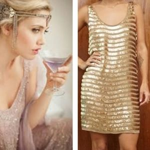 French Connection Gold Sequin Flapper Gatsby Dress